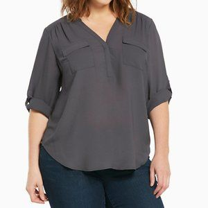 Torrid Gray Georgette Pullover Sheer Blouse 14/16